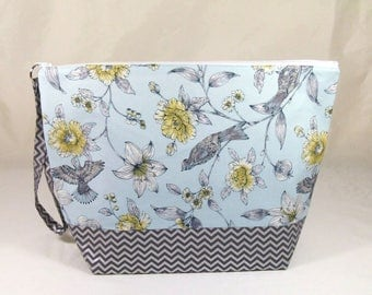 Knitting Project Bag - Large Zipper Wedge Bag in Blue Bird Floral Fabric and Silver Chevron Lining