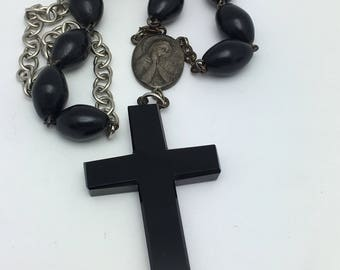 Rosary Necklace Cross Necklace Vintage Assemblage Necklace black glass cross