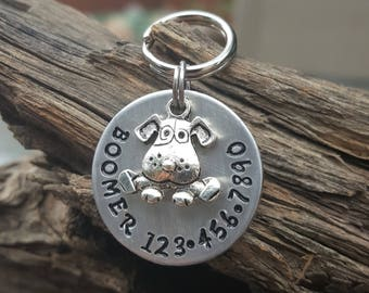 Pet ID Tag, Hand Stamped Dog Tag, Dog Tag for Dogs, Personalized Puppy Tag, Dog Collar Charm, Boomer Tag