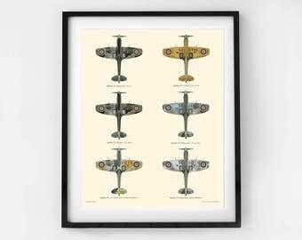 Spitfire print, Airplane decor, Toddlers wall decor, Airplane Nursery, Transportation prints, Boys wall art, Educational poster