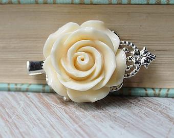 Cream Wedding Hair Piece - Wedding Hair Clip - Fall Bridal Hair Clip - Rose Wedding Hair Accessories - Flower Hair Clip - Floral Hair Comb