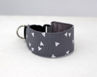 Made to order -  Collars for Italian Greyhounds -  Grey and White Triangles - iggy collar- ( accurate measurements essential)