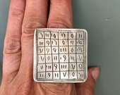 Tuareg Silver Protection Marabout Magical Ring with Tifinagh signs, Inner Diameter  2 cm  Size Us 10