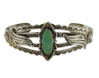 Bell Trading Post Fred Harvey Era Navajo Turquoise Cuff Bracelet Sterling Silver Hallmarked