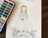 For Danielle- Custom Watercolor Family 9 People RUSH
