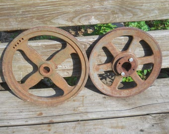 2 Antique Vintage Industrial Cast Iron Metal Wheel Pulleys-Steampunk Decor Garden/Wall Art-Mismatched