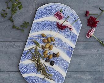 Handmade Ceramic Platter, Decorative Wall Piece, Tray with Blue Pattern