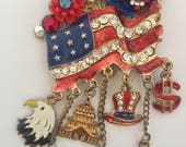 Patriotic USA - FLAG Pin - Red White and Blue - Long May It Wave - AMERICANA Brooch