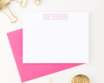 Personalized Stationery for Girls // Flat Notecards // Girls Stationary // Personalized Note cards // Choose your colors, PS031