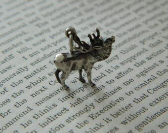 Vintage Silver Standing Elk Charm.