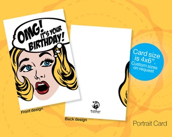 Printable BIRTHDAY Cards, Retro, Pop Art Birthday Card, Instant download Birthday, OMG card, Cartoon Birthday Cards, Friendship Cards