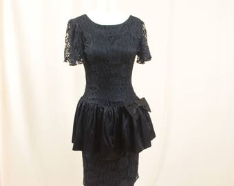 1980s Black Cocktail Dress * 80s Prom Dress * Black Drop Waist Dress * 80s Does 20s * Black Lace Dress * Angel Wing Sleeves