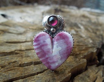 Rustic Heart Ring Size 8.5 - Handmade Purple Spiny Oyster and Garnet Cocktail Ring - Sterling Silver