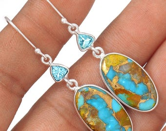 """SALE! Beautiful, Pilot Mountain Turquoise with Blue Topaz Accents. Sterling Silver Earrings. 2"""" Long. 2890"""