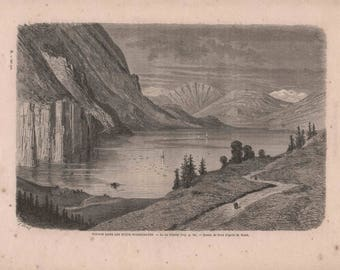French Engraving from 1860-Beautiful Lake View in Flatdal, Norway by Gustave Doré