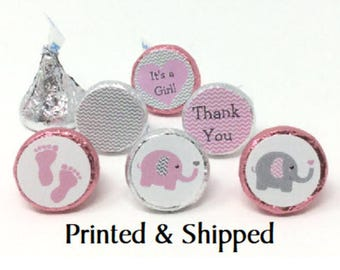 324 Baby Shower Pink & Grey Elephant Chevron Stickers for Candy Kiss® -  Pink and gray Labels for Chocolate Kisses