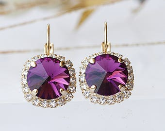 DARK PURPLE EARRINGS, Sparkly Earrings, Wedding Jewelry, Swarovski Drop Earring, Deep Purple Earrings, Purple Bridal, Vintage Earrings, Wife