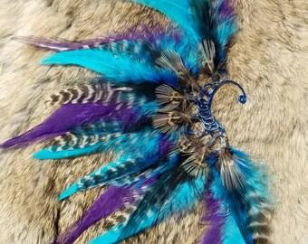 Blue Feather Ear Cuff - Right Ear