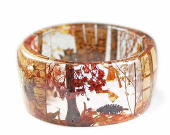 Autumn Forest Bracelet-  Real Flower Jewelry- Fall Jewelry- Resin Jewelry- Flower Bracelet- Flower Resin Bracelet- Modern Flower Child