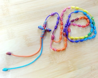 Knotted Twine Rosary•Colorful Girls-Teen Rosary•Catholic Gift•Confirmation•First Communion•Prayer Beads•Rosary Necklace•KN009•OURLADYBeads