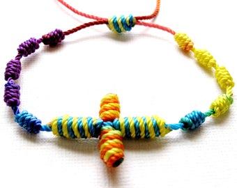 Knotted Rosary Bracelet•Colorful Pastel Color Combination•100% Nylon Cord Rosary Bracelet•Friendship Bracelet•KN0014•Our Lady Beads
