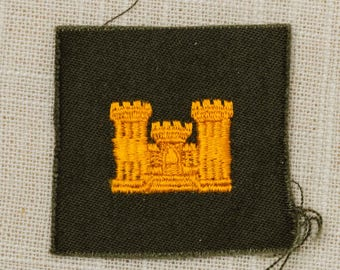 US Army Corps of Engineers Vintage Patch Green and Gold Vietnam Era Uniform Sew on 7Z