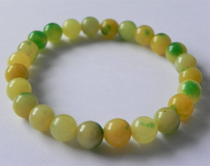 Multi-coloured quartzite stretch gemstone bracelet in citrus colours, green, yellow