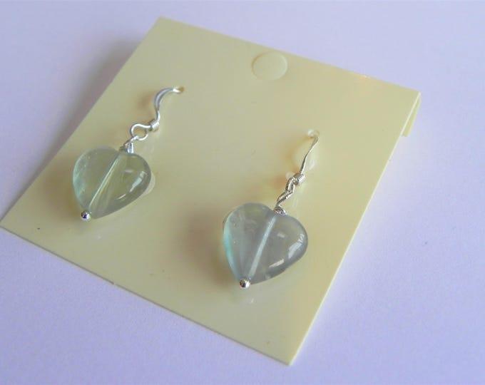 Fluorite heart sterling silver green gemstone drop earrings