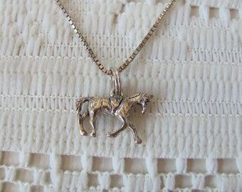 Sterling Silver Horse Necklace Vintage Horse Jewelry