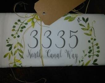 Personalized address towel water color laurel flour sack towel