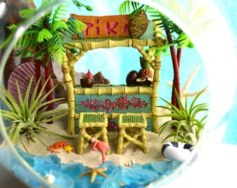 """Beach Terrarium Kit ~ Tiki Bar and 2 Bar Stools ~ 2 Air plants ~ 2 Palm trees ~ 8"""" Glass Terrarium ~ Beach Decor ~ Beach Vacation ~ Gift"""