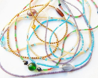 Sale! 5 African Waist Beads MEDIUM Sizes; 5 Assortd Waistbeads Bundle; Wrap & Soul Give-Back Waist Bead Project;  Multicolored Belly Chains,