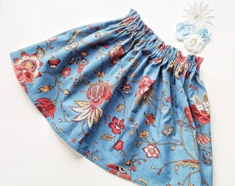 Girls skirt, 100% cotton floral elasticated waist skirt, second birthday outfit for little girl, special occasion clothing for young girls