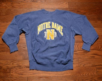vintage 80s Notre Dame Fightin' Irish sweatshirt distressed frayed faded navy blue pro weave 1980 MVP L/XL
