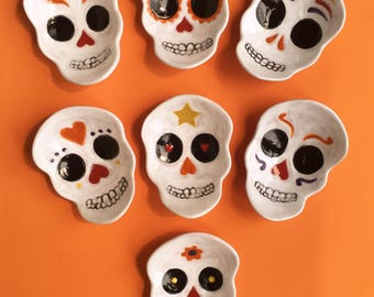 Sugar Skull ceramic dish, catchall, candy dish, spoonrest, soap dish, Day of the Dead