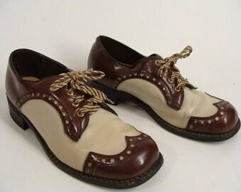 Rockabilly Shoes. Spectators. Wingtips. vintage 60s Brown n Tan Spectator Wingtip Lace Up Oxfords. Men's Shoe size 8 1/2 Women's 10 unisex