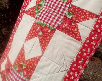 Red Strawberries,Gingham, Ohio Star Quilted Table Runner