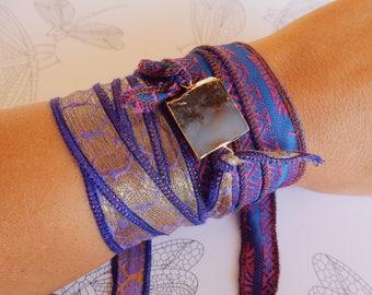 Purple Silk Ribbon Wrap