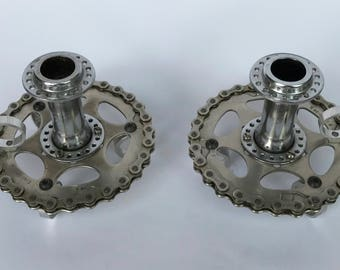 Recycled Bicycle Part Candle Holders - Pair