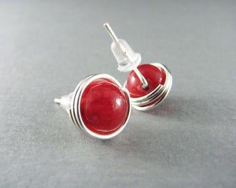 Red Jade Earrings Wire Wrapped Earrings Nickel Free Earrings Small Stud Red Stud Earrings Silver Wire Wrap Earrings Jade Jewelry
