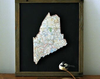 MAINE State Map Wall Decor | Framed Maine Art | Gallery Wall | Perfect Gift for Any Occasion | Mini Size Map