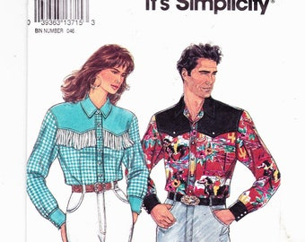 Simplicity 8262 Coutry Western Shirts for Men and Women Sizes XS-S-M-L-XL Uncut Vintage 1992