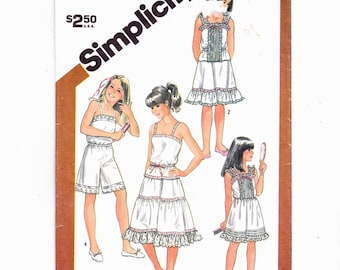 Simplicity 5804 Sz 10 Girls Slip, Camisole, Half Slip In Two Lengths And Culotte Slip UNCUT