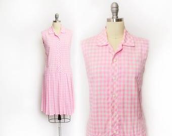 Vintage 1960s Dress - Pink Gingham Cotton Shirtwaist Drop Waist Sleeveless Day Dress - Medium