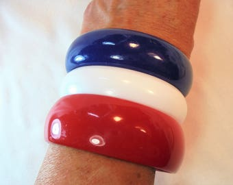 Vintage Red / White / Blue Lucite Bangle / Bracelet Lot of 3 Vintage Plastic Americana 4th of July Mod Retro Statement Runway