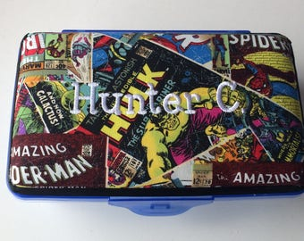 Personalized Kids School Pencil Box Case Marvel Comics Wolverine Spiderman Hulk Thor