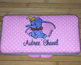 Personalized Baby Dumbo Wipe Travel Case Boy or Girl