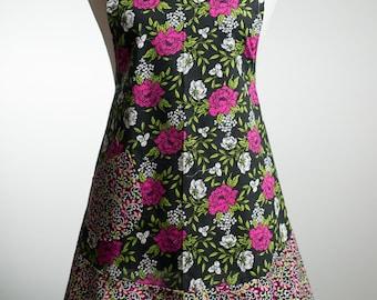 Flirty Apron - Rose Garden on Black
