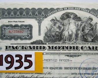 1935 Packard Motor Car Stock Certificate. Original Classic 1930s Automotive Bank Note. Automobilia. Luxury Motorcars. One Twenty, 120, V-12