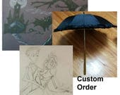 Custom Parasol, Hand painted, Black canopy with wooden handles